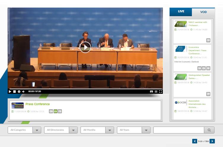 Interface de diffusion (Live - VoD)