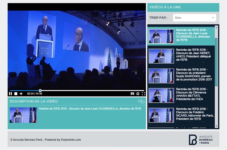 Interface desktop de la plateforme vidéo du Barreau de Paris
