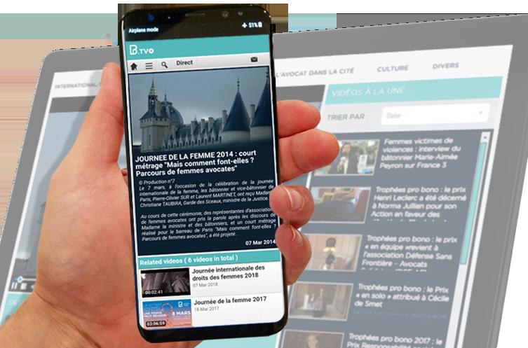 Interface mobile de la plateforme vidéo du Barreau de Paris